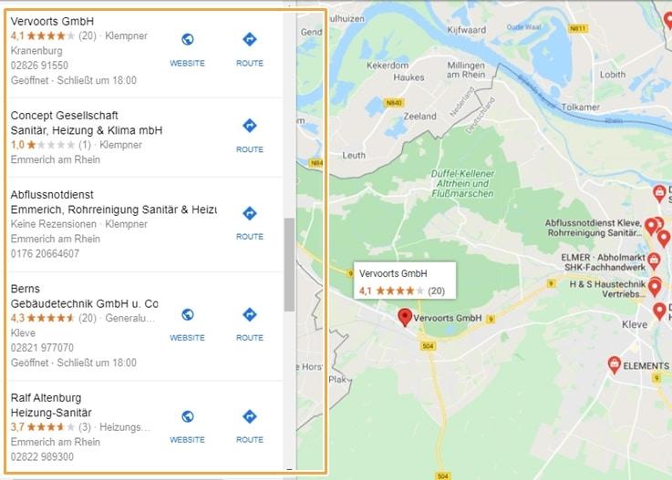 Darstellung des Local Finders für die Google Suche nach Heizungsinstallateur Kleve