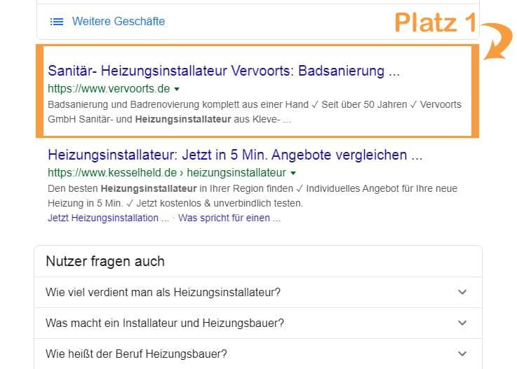 Beispiel für das lokale Suchergebnis Heizungsinstallateur Kleve, organisches Ranking