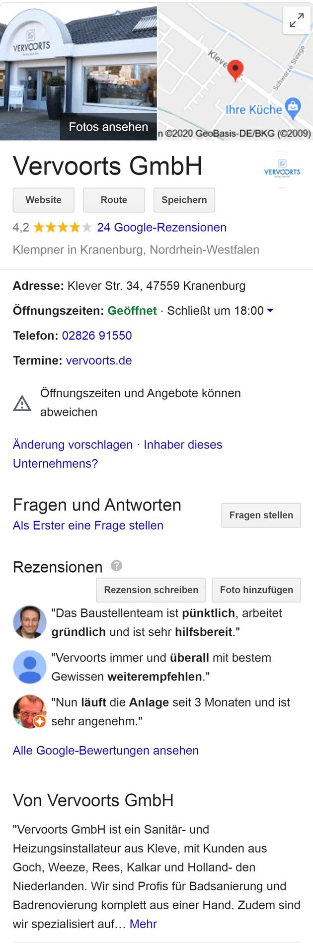 Beispiel für einen Google My Business Eintrag Darstellung der One Box