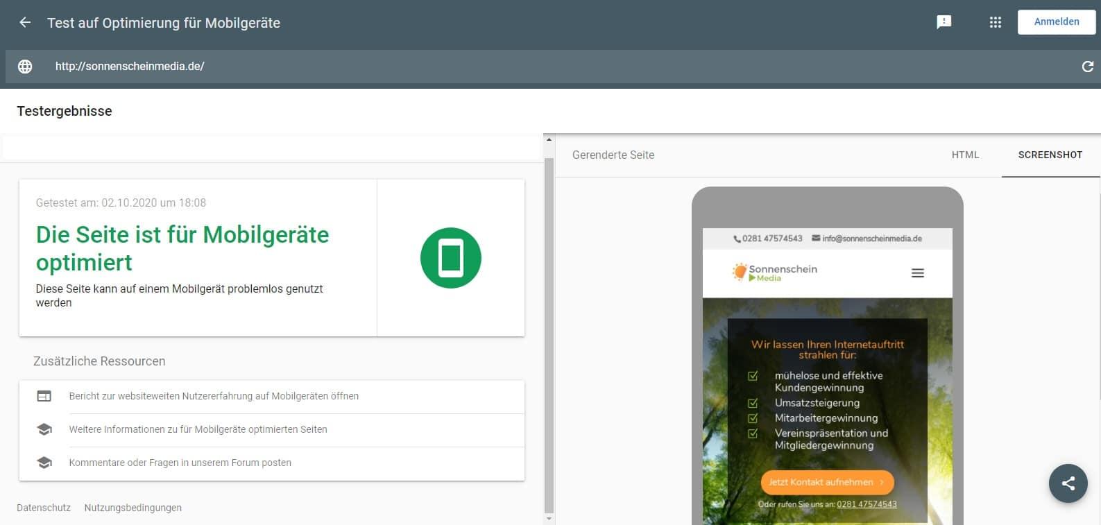 Beispiel Screenshot mobile-friendly- Test