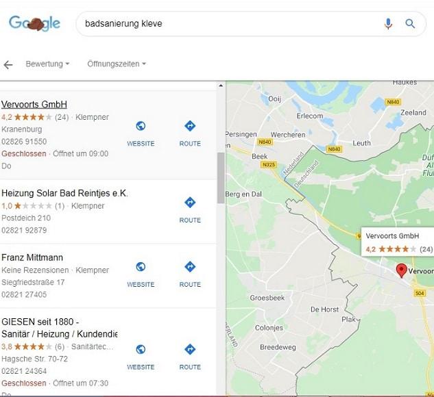 Google My Business Profil- Anzeige im Local Finder