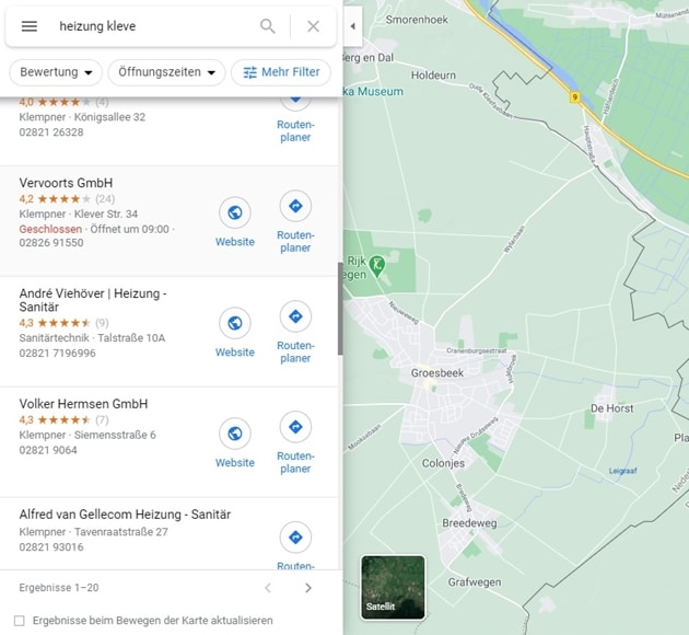 Google My Business Optimierung, Ergebnis Suche in Google Maps