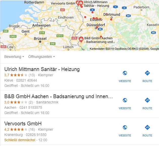 Google My Business Profil Anzeige im Local Pack