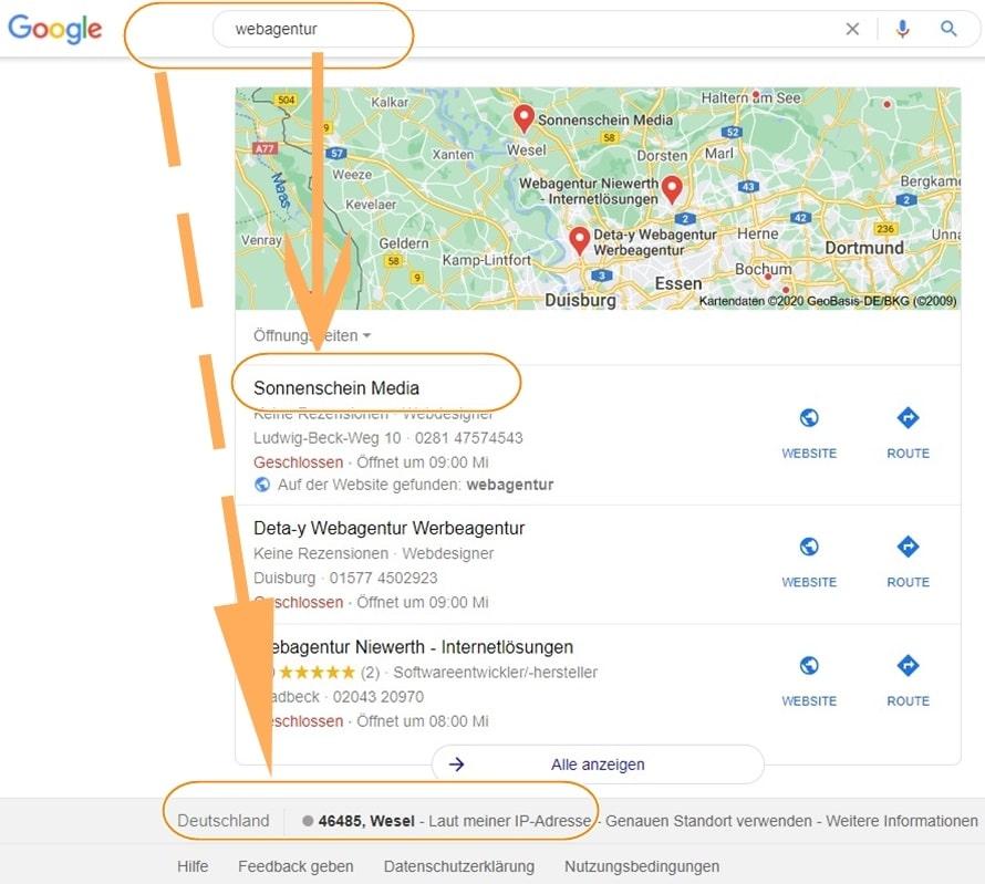 Lokales Google Suchergebnis Keyword ohne Ortsangabe aber Standortausfindung per IP Adresse