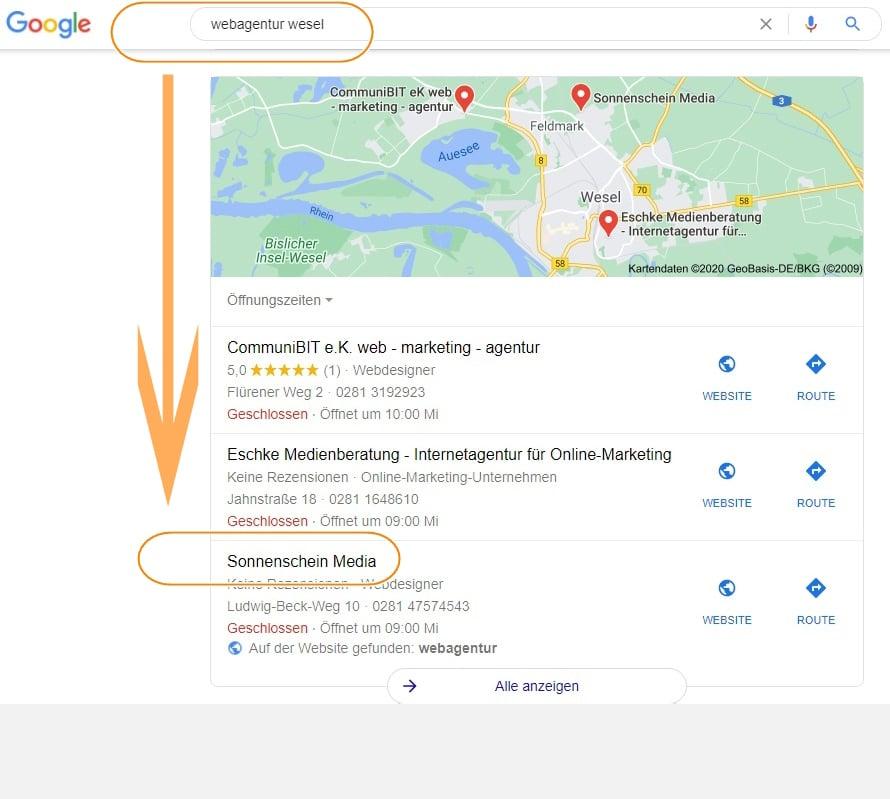 Lokales Google Suchergebnis Keyword mit Ortsangabe