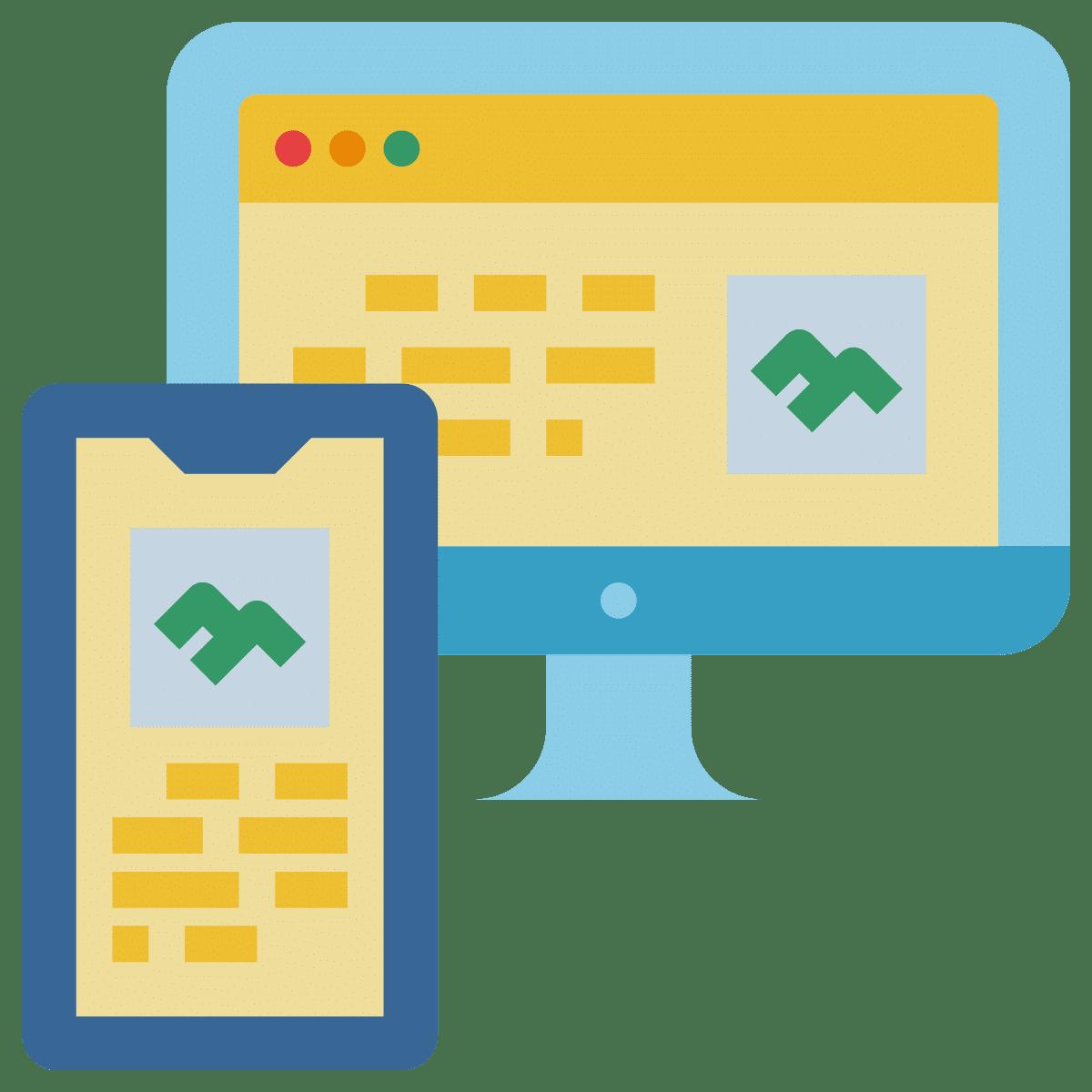 Icon Website Ansicht mobil und Desktop