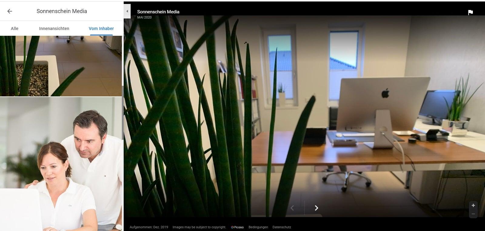 Screenshot Beispiel für Fotos im Google My Business Profil