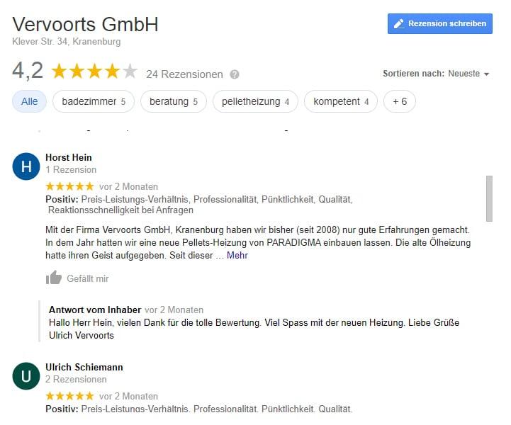 Beispiel für Google Bewertungen