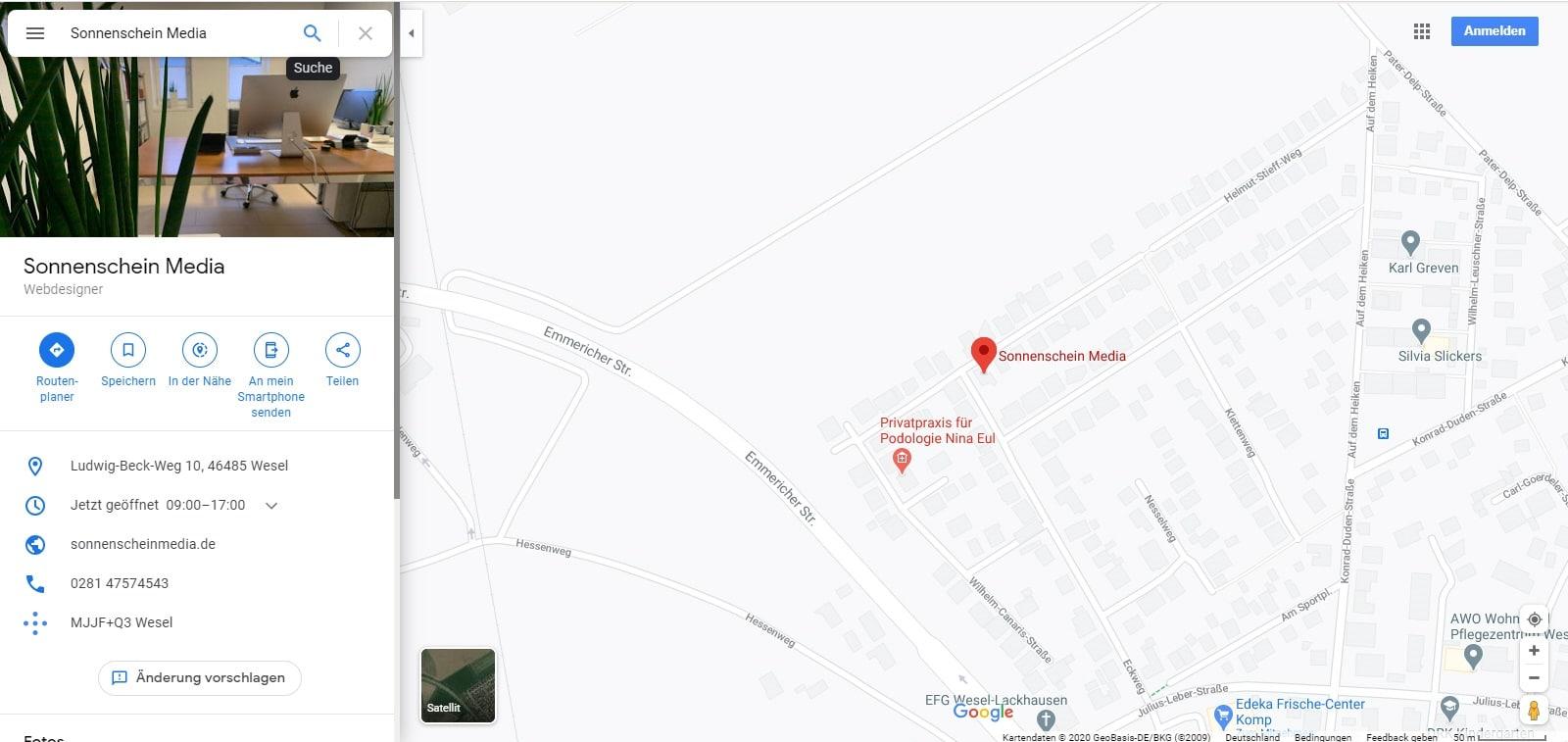 Beispiel für einen Google Maps Eintrag