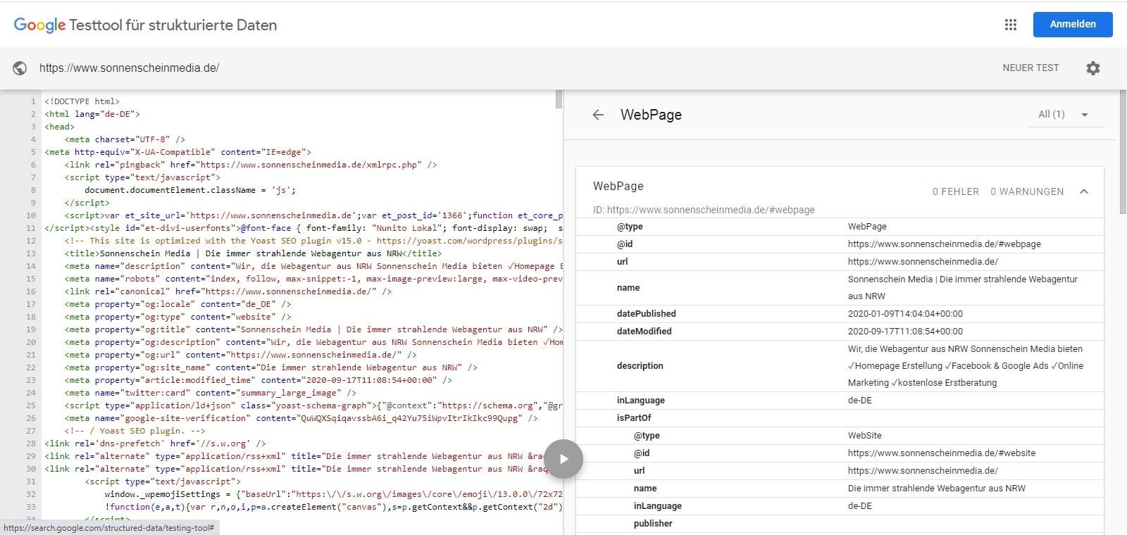 Screenshot Beispiel für Google Testtool für strukturierte Daten