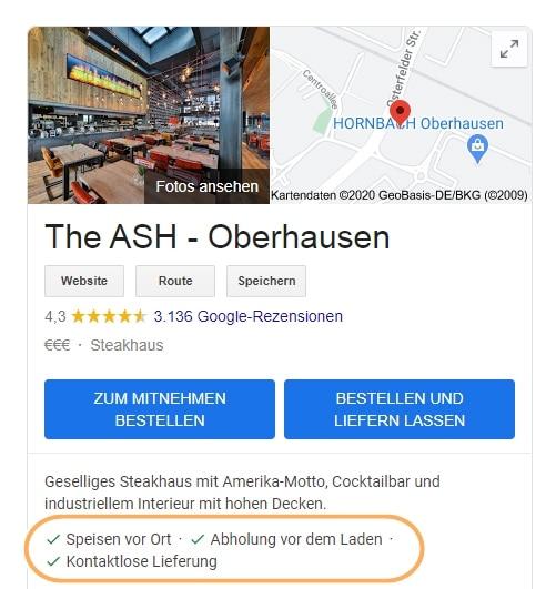 Beispiel für Attribute eines Restaurants im GMB- Profil