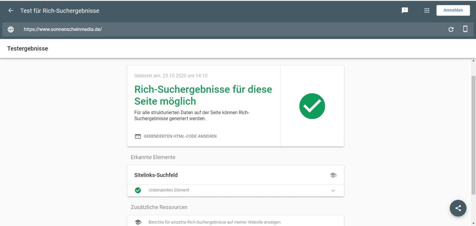 Screenshot Beispiel Test für Google für Rich Suchergebnisse