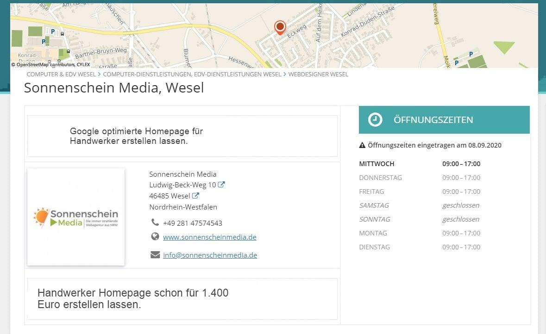 Screenshot mit einem Beispiel für einen Local Citation Eintrag