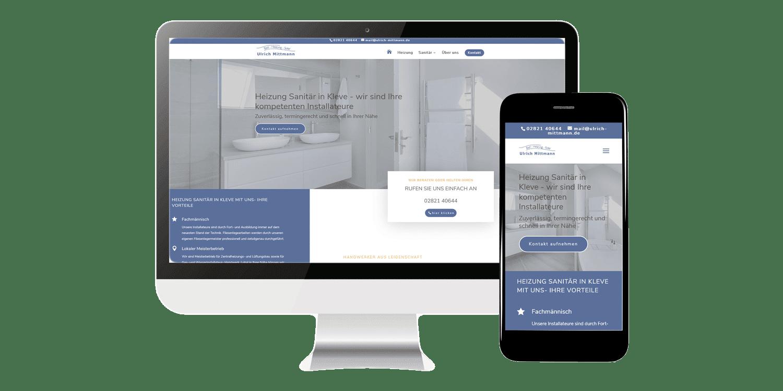 Webdesign mit Mobil- Optimierung Handwerker Firmenhomepage- Referenz Mittmann